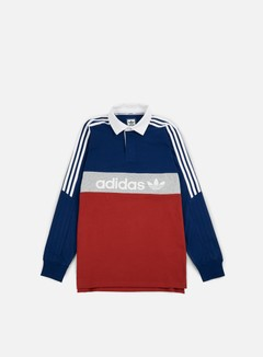 Adidas Skateboarding - Rugby Nautical Polo, Mystery Red/Mystery Blue/Medium Grey 1