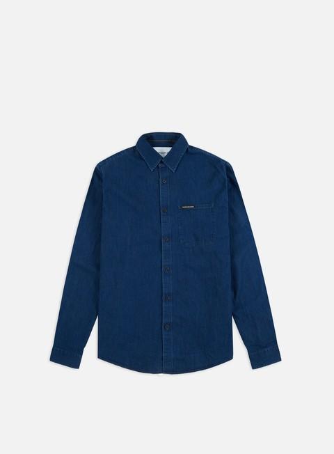 Outlet e Saldi Camicie a Manica Lunga Calvin Klein Jeans Indigo Institutional Pocket Shirt