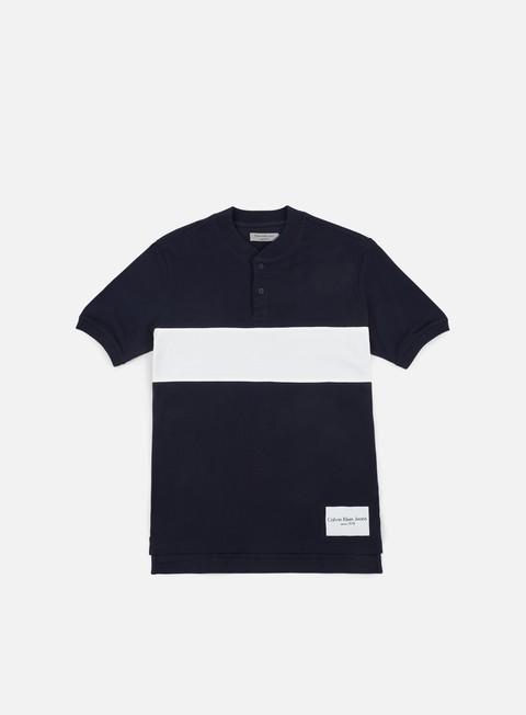 camicie calvin klein jeans primo 2 polo shirt night sky bright white