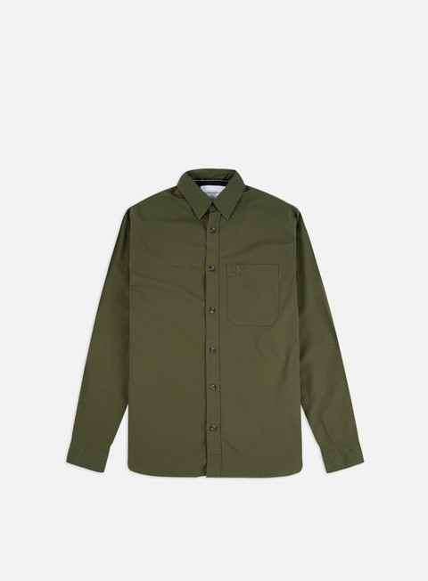 Outlet e Saldi Camicie a Manica Lunga Calvin Klein Jeans Slim Stretch Logo Tape Pocket LS Shirt