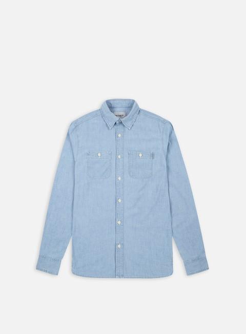 camicie carhartt clink ls shirt blue stone bleached
