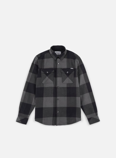 camicie carhartt graham ls shirt dark grey heather
