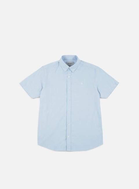 camicie carhartt lancaster logo ss shirt aquamarine wax