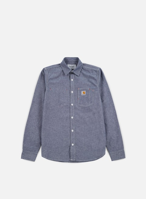 camicie carhartt state ls shirt blue rinsed