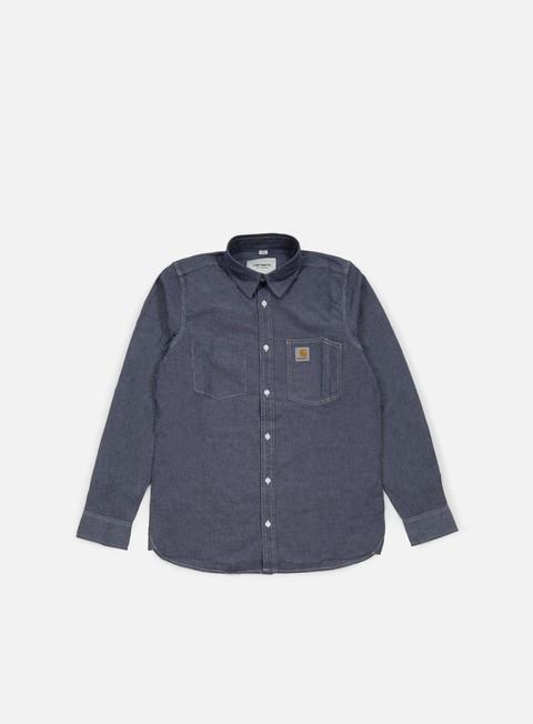 camicie carhartt state ls shirt dark blue rinsed