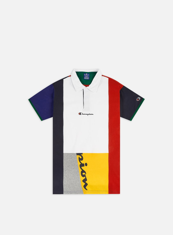 Champion Colour Block Patckwork Polo Shirt