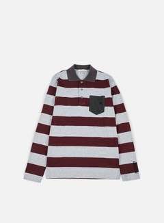 Converse - Logo Stripes Long Sleeves Polo Shirt, Bordeaux Melange 1
