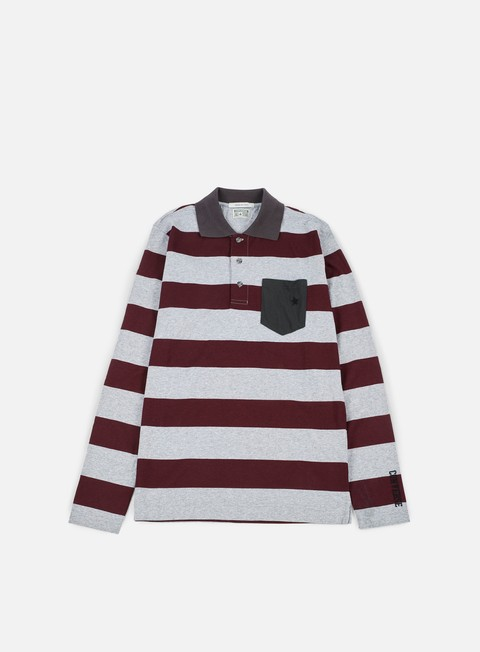 camicie converse logo stripes long sleeves polo shirt bordeaux melange