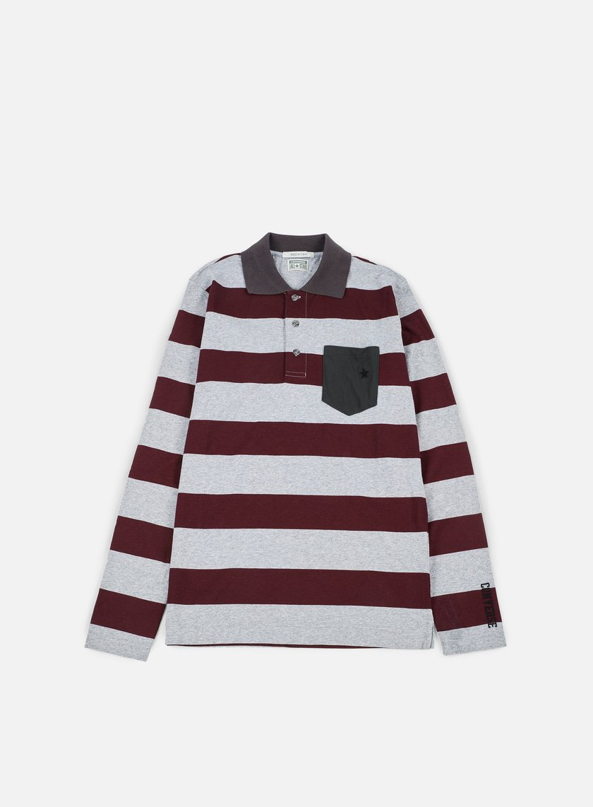 Converse - Logo Stripes Long Sleeves Polo Shirt, Bordeaux Melange