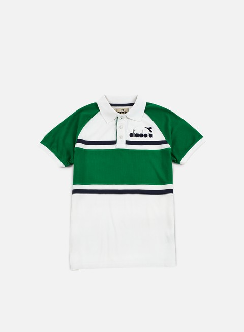 camicie diadora 80s polo shirt green super white