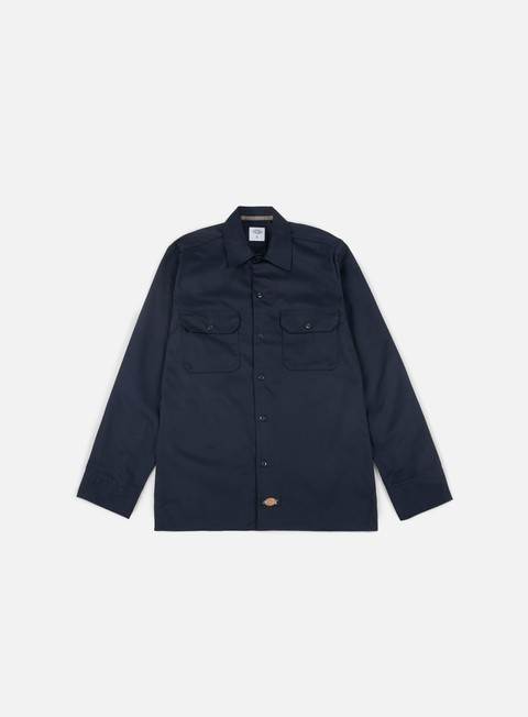 camicie dickies long sleeves slim work shirt dark navy