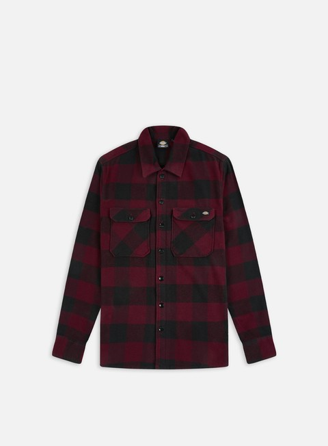 camicie dickies sacramento shirt maroon black