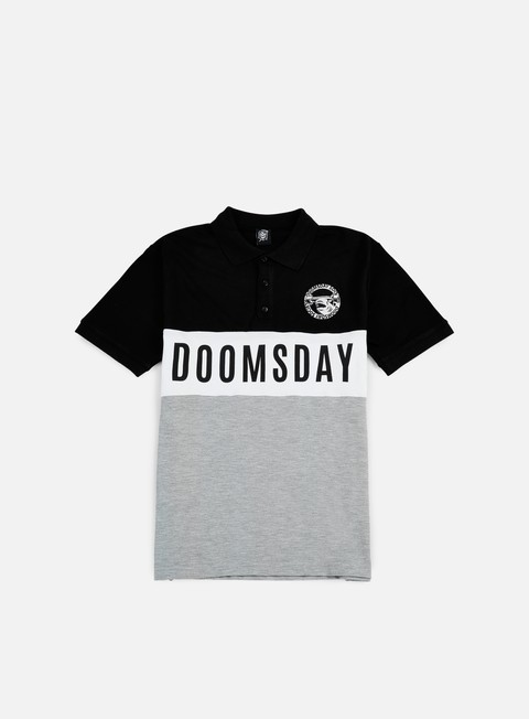 camicie doomsday logo round hammerhead polo shirt black grey
