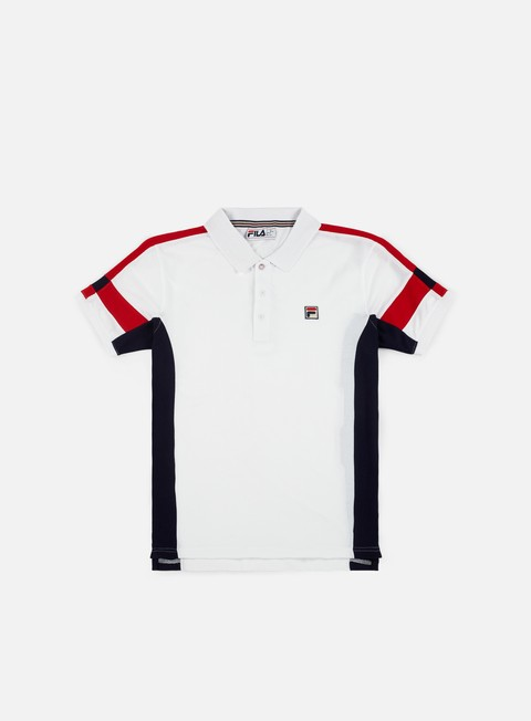 camicie fila prago panel polo shirt white peacoat