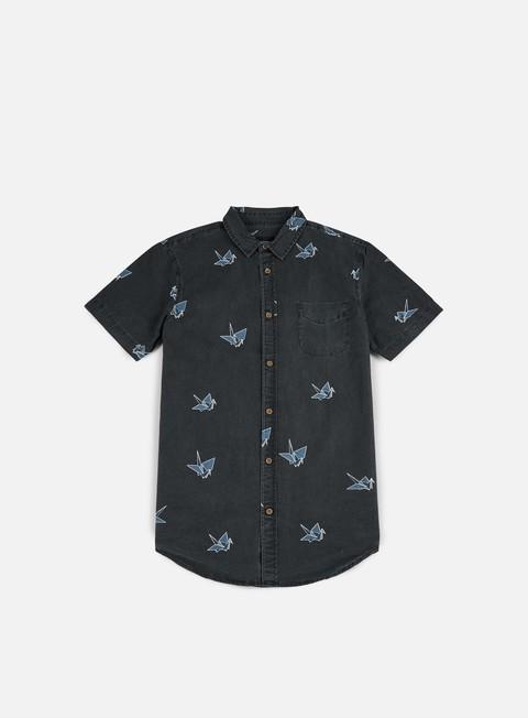 camicie globe paper cranes ss shirt vintage black