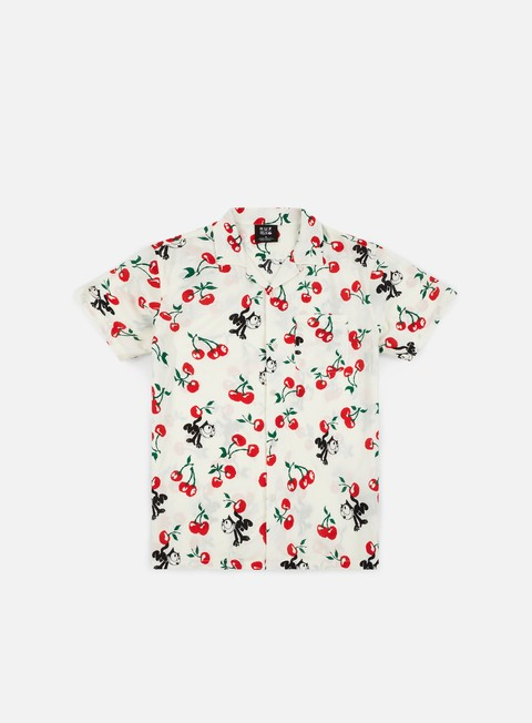 camicie huf felix cherry woven ss shirt off white