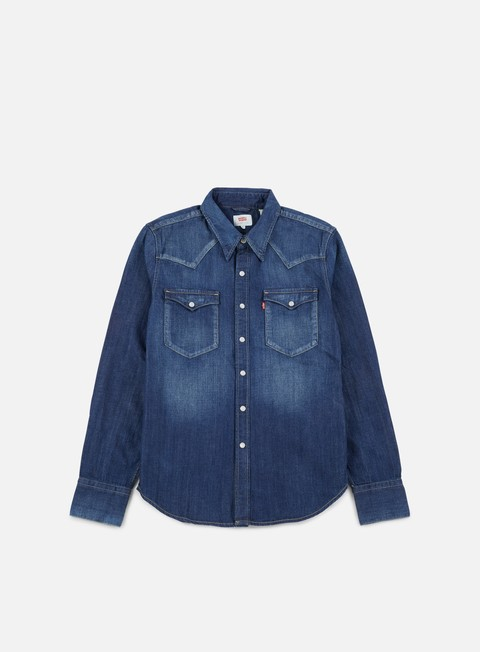camicie levi s barstow western shirt carbon dark blue