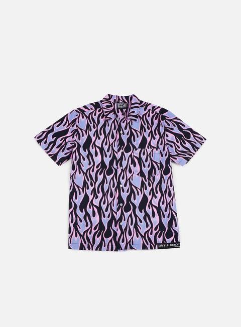 Outlet e Saldi Camicie a Manica Corta Life's a Beach Blue Flames Hawai Shirt