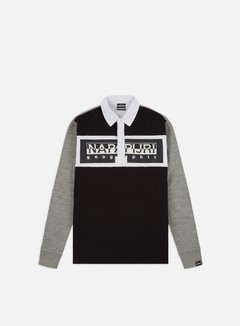 Napapijri - Emei LS Polo, Black/White/Grey Melange