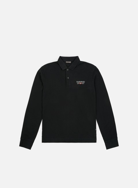 camicie napapijri erthow ls polo shirt black