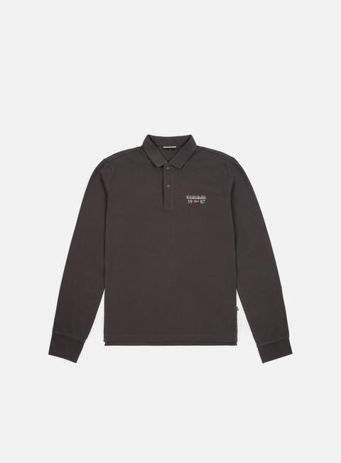 camicie napapijri erthow ls polo shirt dark grey solid