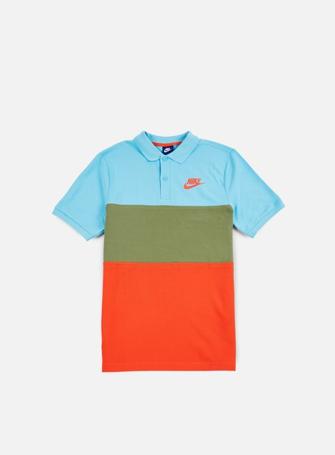 camicie nike matchup polo shirt vivid sky palm green max orange