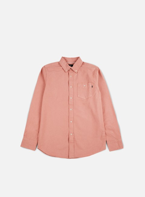 camicie obey keble ii ls woven shirt dusty rose grey