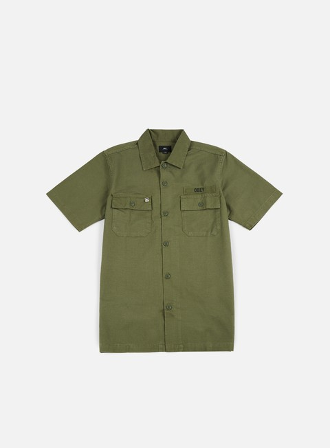 camicie obey mission military ss woven shirt light army