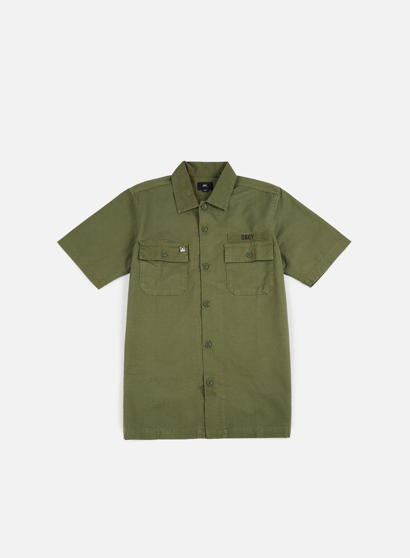 Obey - Mission Military SS Woven Shirt, Light Army