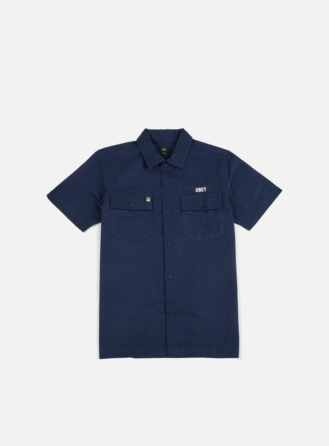 camicie obey mission military ss woven shirt navy