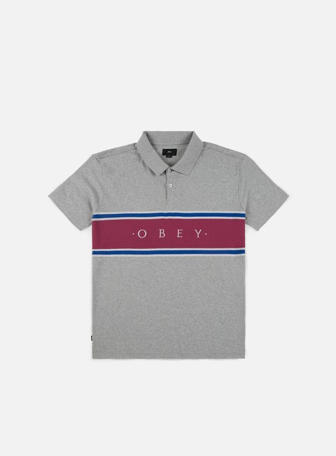 camicie obey palisade polo shirt heatther grey