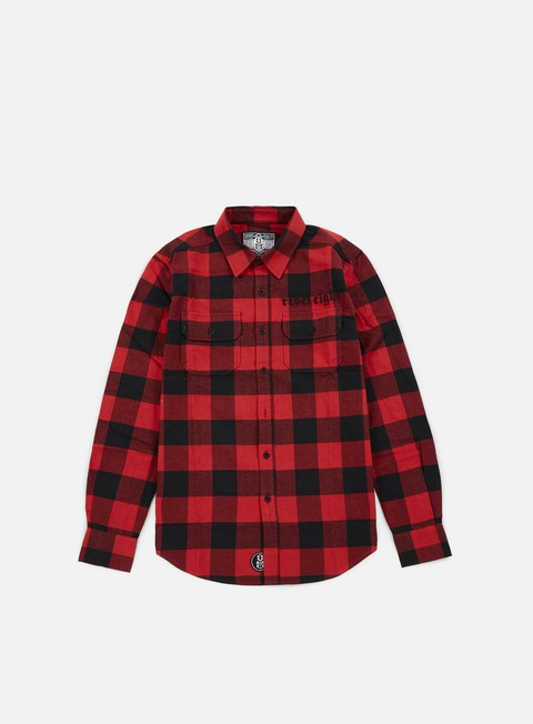 camicie rebel 8 bill flannel shirt red