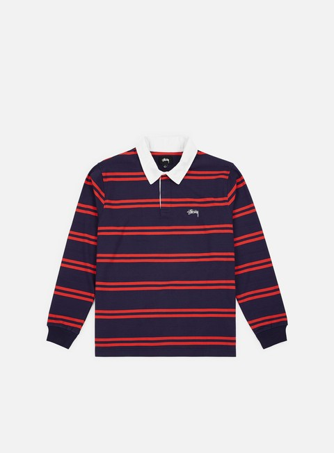 camicie stussy desmond stripe ls rugby polo shirt navy