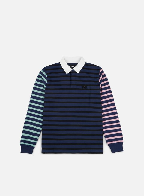 camicie stussy jonah stripe ls rugby polo shirt navy