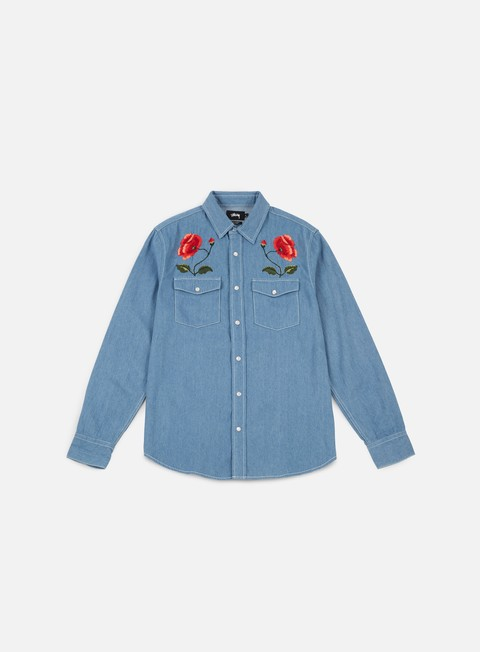 camicie stussy poppy denim shirt light blue