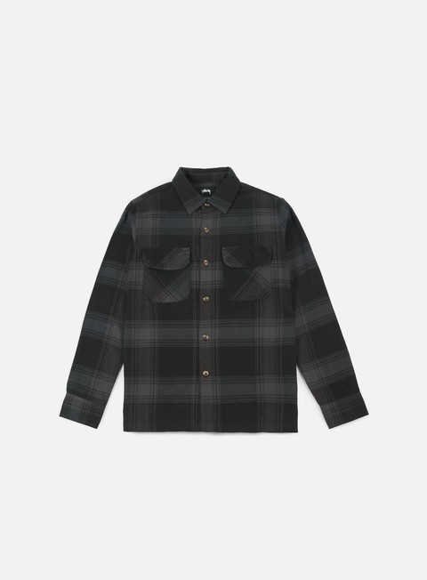 camicie stussy shadow plaid ls shirt black