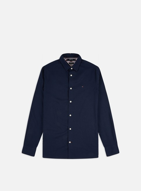 Sale Outlet Long Sleeve Shirts Tommy Hilfiger Slim Flex Herringbone LS Shirt