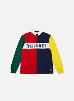 Tommy Hilfiger - TJ 90s Colorblock Rugby Polo, Salsa/Multi 1