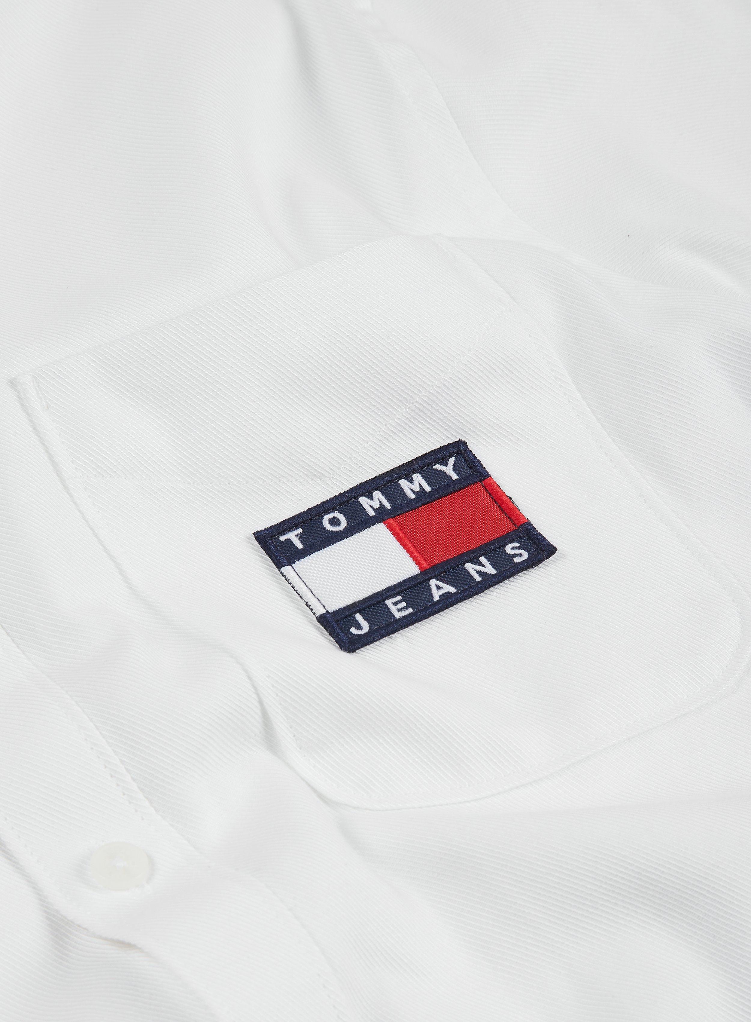 Large Uomo Bianco White Ya2 Tommy Hilfiger Tjm USA Mountain Logo Tee Maglietta a Maniche Lunghe