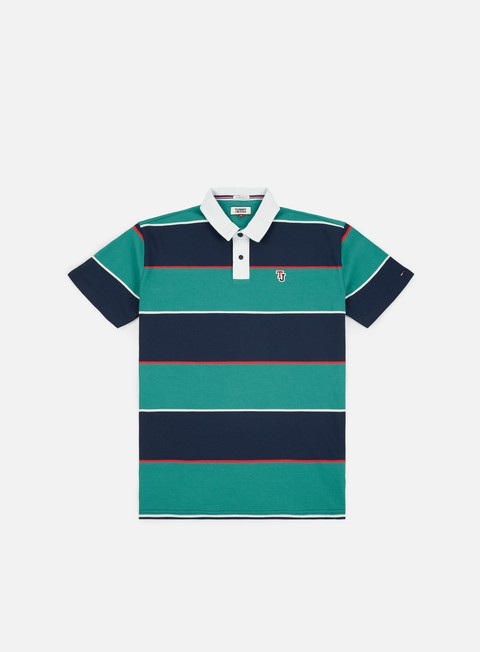 camicie tommy hilfiger tj block stripe rugby polo shirt green blue state multicolor