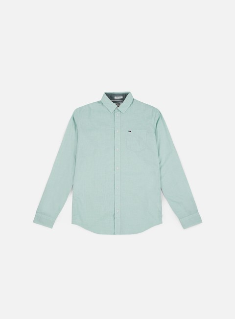 camicie tommy hilfiger tj essential solid shirt green blue slate