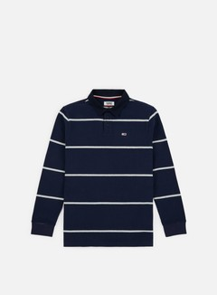 Tommy Hilfiger - TJ Tommy Classics Rugby Polo LS Shirt, Black Iris/Light Grey Heather