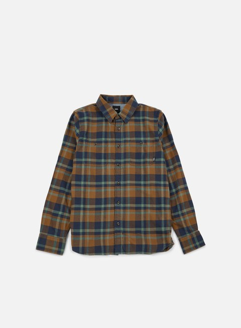 camicie vans banfield ii ls shirt dress blues brown