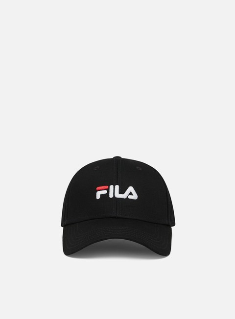 Curved Brim Caps Fila 6 Panel Linear Logo Strapback