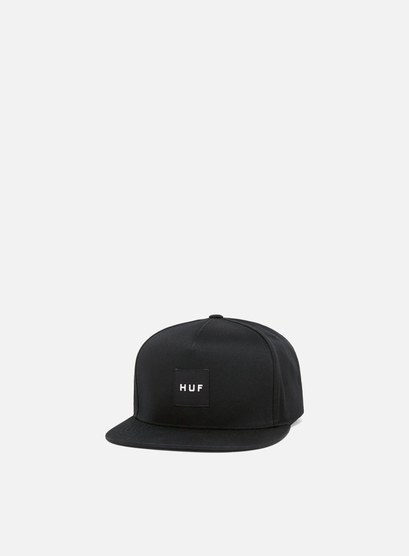 Huf - Box Logo Snapback, Black/Black