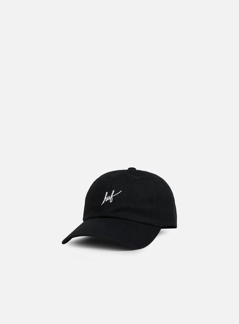 cappellini huf script logo curved brim hat black white