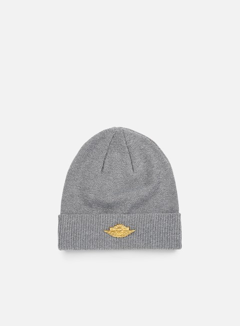 cappellini jordan jumpman cuff beanie dark grey heather metallic gold
