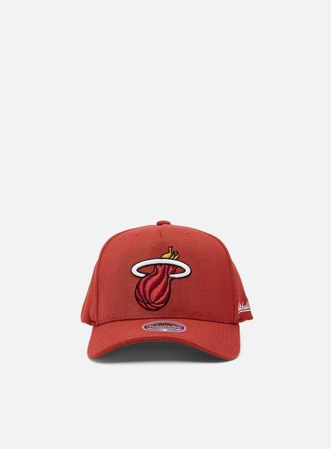 Cappellini Visiera Curva Mitchell & Ness Dropback Solid Redline Snapback Miami Heat