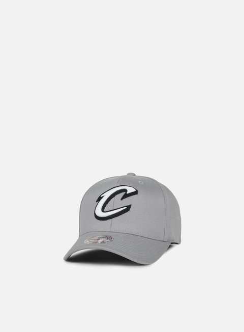 Curved Brim Caps Mitchell & Ness Gull Grey Snapback Cleveland Cavaliers