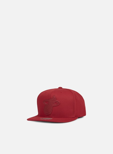 cappellini mitchell e ness hot stamp snapback miami heat red